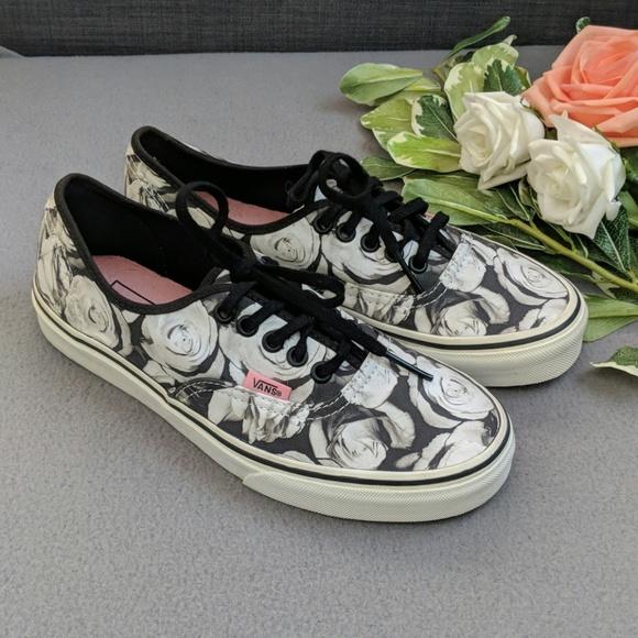 Vans Shoes | Vans Black And White Rose